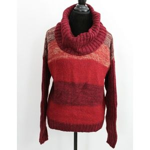 A.N.A. Ombre Red Burgundy Cowl Neck Sweater